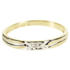 14K Diamond Inset Grooved Two Tone Wedding Band Ring Size 5.75 Yellow Gold [QPQX]