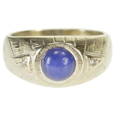 10K Round Star Sapphire Diamond Accented Patterned Ring Size 7.25 White Gold [QPQX]