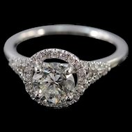 Platinum 0.91 Ct I/VVS2 Round 1.16 Ctw Diamond Halo Engagement Ring Size 4.5  [QWXP]