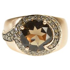 14K Smokey Quartz Brown Diamond Encrusted Swirl Ring Size 5.75 Rose Gold [QWXW]