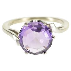 10K Round Amethyst Scalloped Prong Freeform Bypass Ring Size 5 White Gold [QWXW]