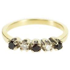 14K Round Brilliant Diamond Sapphire Wedding Band Ring Size 5.5 White Gold [QWXW]