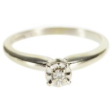 14K Round Brilliant Cut Solitaire Diamond Engagement Ring Size 6 White Gold [QWXW]