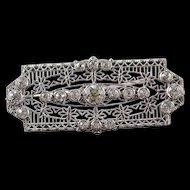 14K Victorian 1.68 Ctw Diamond Filigree Bar Pin/Brooch White Gold  [QWXS]