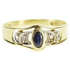 14K Oval Sapphire Diamond Accented Crescent Moon Ring Size 8 Yellow Gold [QPQQ]