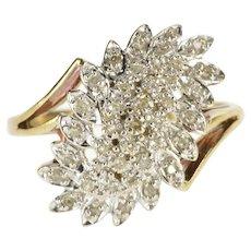 10K Diamond Encrusted Petal Cluster Wavy Freeform Ring Size 6 Yellow Gold [QWXW]