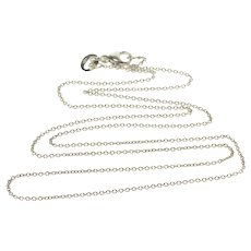 "14K 1.1mm Cable Round Link Chain Necklace 17.9"" White Gold  [QPQX]"
