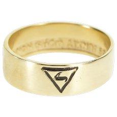 10K 14th Degree Grand Elect Masonic Symbol Band Ring Size 11 Yellow Gold [QPQQ]