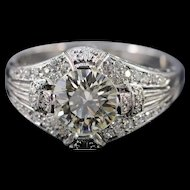 Platinum 1.65 Ct J / VS1 Diamond 2.15 Ctw Art Deco Engagement Ring Size 7  [QWXP]