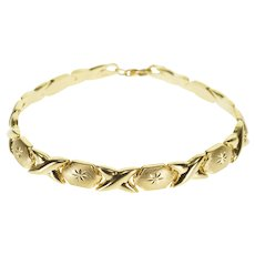 "10K Criss Cross Starburst Design X Link Bracelet 7"" Yellow Gold  [QPQQ]"