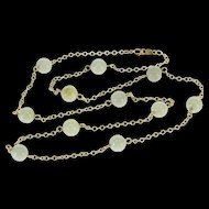 """10K 6.2mm Jade Beaded Cable Link Chain Necklace 18.3"""" Yellow Gold  [QPQQ]"""