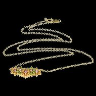 """14K Emerald* Citrine* Amethyst* Floral Cluster Necklace 18"""" Yellow Gold  [QPQQ]"""