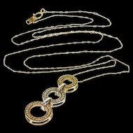 "10K Tri Tone Diamond Encrusted Dangle Ring Chain Necklace 20.6"" Yellow Gold  [QPQQ]"
