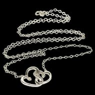 "10K Diamond Inset Interlocking Heart Cable Chain Necklace 19"" White Gold  [QPQQ]"