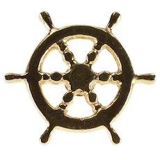 14K Ship Wheel Nautical Motif Lapel Pin/Brooch Yellow Gold  [QWXR]