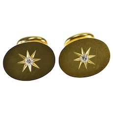 14K Diamond Starburst Grooved Inset Oval Cuff Links Yellow Gold  [QRXF]
