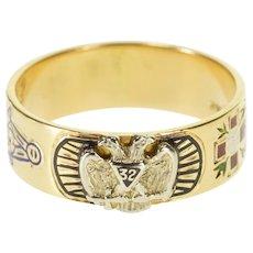 14K 32nd Degree Mason Double Headed Eagle Ornate Ring Size 11.25 Yellow Gold [QPQQ]