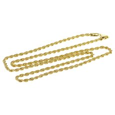 "10K 2.7mm Rolling Rope Twist Spiral Fancy Chain Necklace 20.25"" Yellow Gold  [QWXR]"