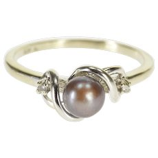 10K Tahitian Pearl Diamond Accented Three Stone Ring Size 9.75 White Gold [QWXR]