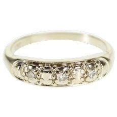 14K Three Stone Diamond Inset Ornate Wedding Band Ring Size 6 White Gold [QWXR]