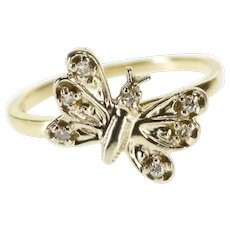 10K Diamond Inset 3D Butterfly Two Tone Statement Ring Size 5 White Gold [QWXR]