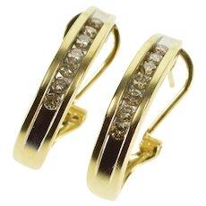14K Diamond Channel Inset Semi Hoop Oval Lever Back EarRings Yellow Gold  [QWXR]
