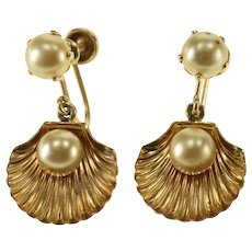 10K Pearl Inset Scallop Sea Shell Dangle Screw Back Earrings Yellow Gold  [QPQQ]