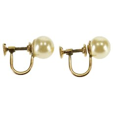 10K Round Pearl Inset Screw Back Earrings Yellow Gold  [QPQQ]