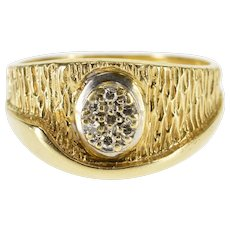 14K Textured Diamond Inset Oval Cluster Wave Band Ring Size 9.25 Yellow Gold [QWXR]