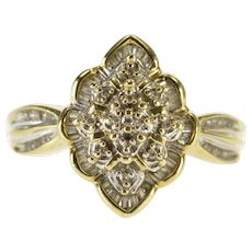 10K Scalloped Pointed Diamond Cluster Statement Ring Size 7.5 Yellow Gold [QWXR]