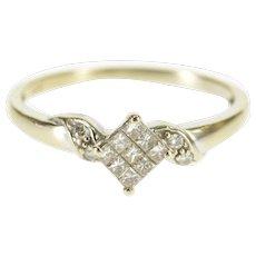 14K Princess Diamond Cluster Accent Engagement Ring Size 6.75 White Gold [QWXR]