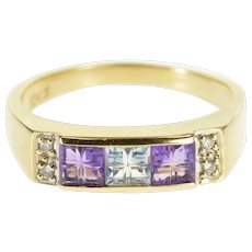 10K Carved Cut Amethyst Blue Topaz Diamond Accent Ring Size 9.25 Yellow Gold [QWXR]