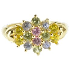 14K Rainbow Cubic Zirconia Cluster Statement Ring Size 6 Yellow Gold [QWXR]