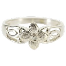 10K Floral Diamond Textured Flower Twist Accent Ring Size 6.75 White Gold [QWXR]