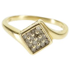 10K Diamond Inset Square Cluster Freeform Bypass Ring Size 6 Yellow Gold [QWXR]