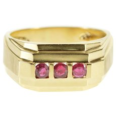 14K Three Stone Ruby Squared Front Grooved Band Ring Size 7.5 Yellow Gold [QWXR]