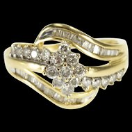 10K Wavy Diamond Encrusted Bypass Baguette Accent Ring Size 9 Yellow Gold [QRXF]