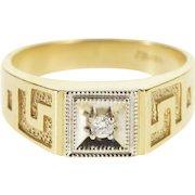10K Diamond Square Milgrain Trim Greek Wave Pattern Ring Size 9 Yellow Gold [QPQQ]
