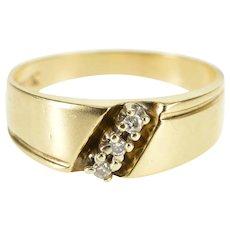 10K Diagonal Grooved Diamond Inset Wedding Band Ring Size 6.75 Yellow Gold [QPQQ]