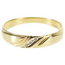 14K Diamond Diagonal Inset Wedding Band Ring Size 9.25 Yellow Gold [QWXR]