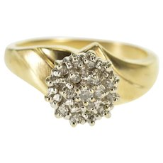 10K Round Tiered Look Diamond Cluster Statement Ring Size 6 Yellow Gold [QWXR]