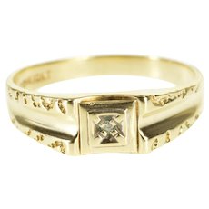 10K Diamond Inset Squared Textured Trim Men's Band Ring Size 11 Yellow Gold [QPQQ]
