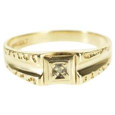 10K Diamond Inset Squared Textured Trim Men's Band Ring Size 11 Yellow Gold [QPQQ]
