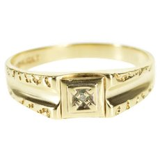 10K Diamond Inset Squared Textured Trim Men's Band Ring Size 11 Yellow Gold [QWXR]