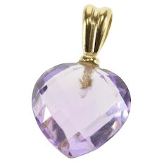 14K Faceted Amethyst Heart Solitaire Pendant Yellow Gold  [QPQC]