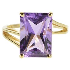 14K Brilliant Cut Amethyst Prong Set Solitaire Ring Size 7.5 Yellow Gold [QRXF]