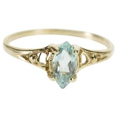 14K Marquise Blue Topaz Solitaire Heart Accent Ring Size 5 Yellow Gold [QPQC]