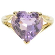 14K Heart Prong Set Amethyst Solitaire Cocktail Ring Size 7.25 Yellow Gold [QPQC]