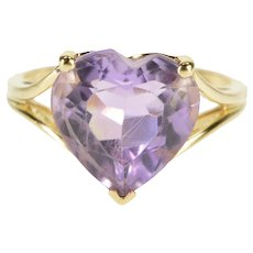 14K Heart Prong Set Amethyst Solitaire Cocktail Ring Size 7.25 Yellow Gold [QRXF]