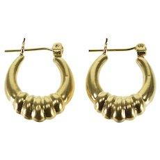 10K Scalloped Graduated Oval Puffy Hoop EarRings Yellow Gold  [QWXR]